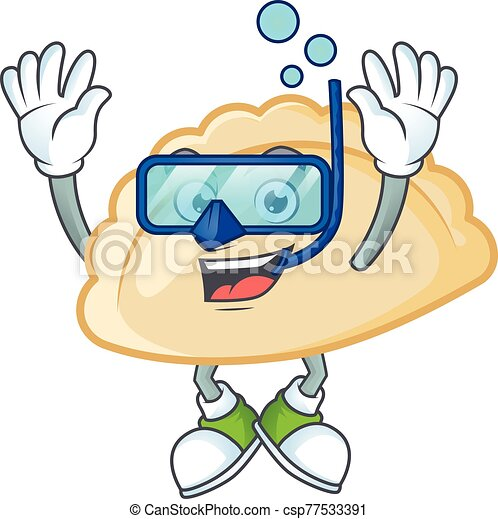 cartoon character of pierogi wearing Diving glasses - csp77533391