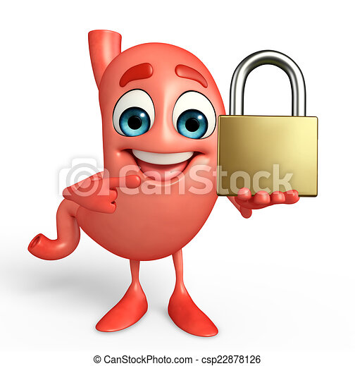 cartoon character of stomach with lock clip art search rh canstockphoto com full stomach clipart stomach clipart black and white