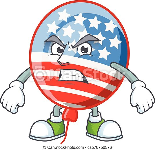 cartoon character of USA stripes balloon with angry face - csp78750576