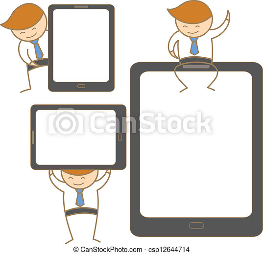 cartoon character set of man with tablet - csp12644714