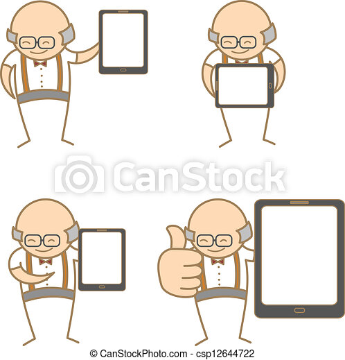 cartoon character set of old man with tablet - csp12644722