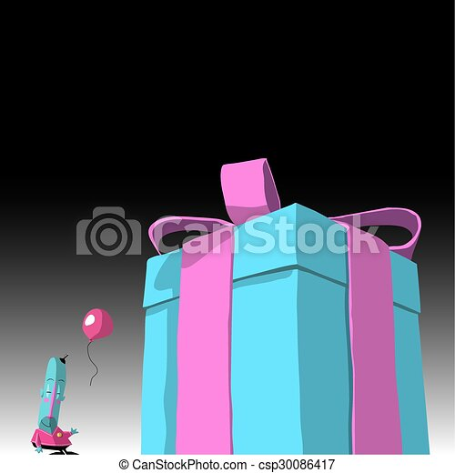 cartoon character with present - csp30086417