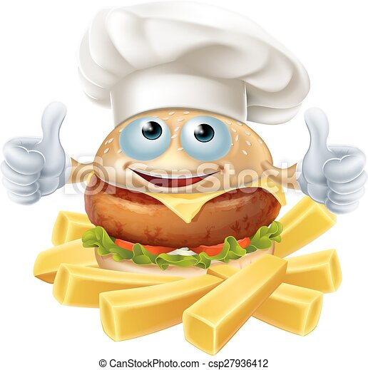 Cartoon chef burger and fries - csp27936412