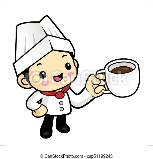 cartoon chef character a cup of tea vector illustration isolated on white background https www canstockphoto com cartoon chef character a cup of tea 51199245 html