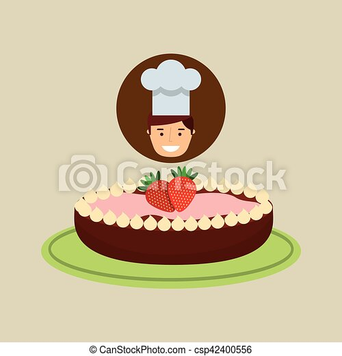 cartoon chef dessert cake chocolate with strawberry - csp42400556