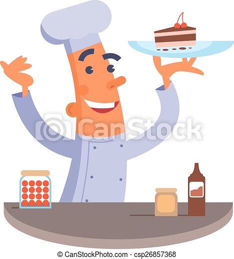 Cartoon chef holding cake - csp26857368