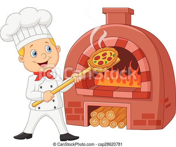 Cartoon chef holding hot pizza with - csp28620781