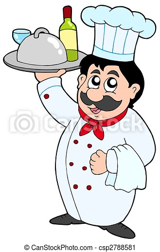 Cartoon chef holding meal and wine - csp2788581