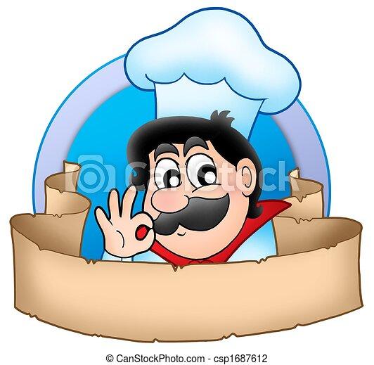 Cartoon chef logo with banner - csp1687612