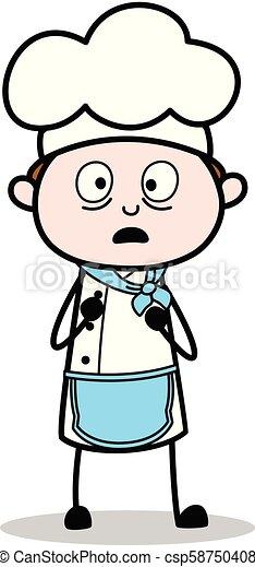 Cartoon Chef Shocked Expression Vector - csp58750408