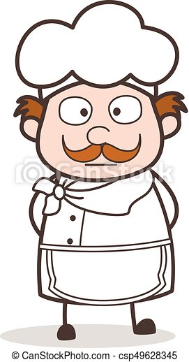 Cartoon Chef Shocking Face Vector Illustration - csp49628345
