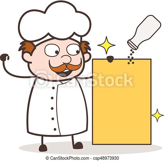 cartoon chef with blank board and spice jar vector vectors rh canstockphoto com chef clipart free free chef clipart images