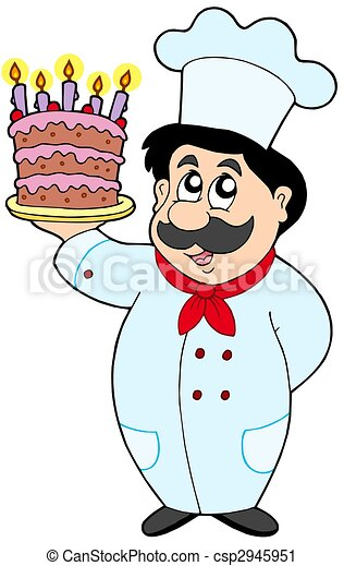 Cartoon chef with cake - csp2945951