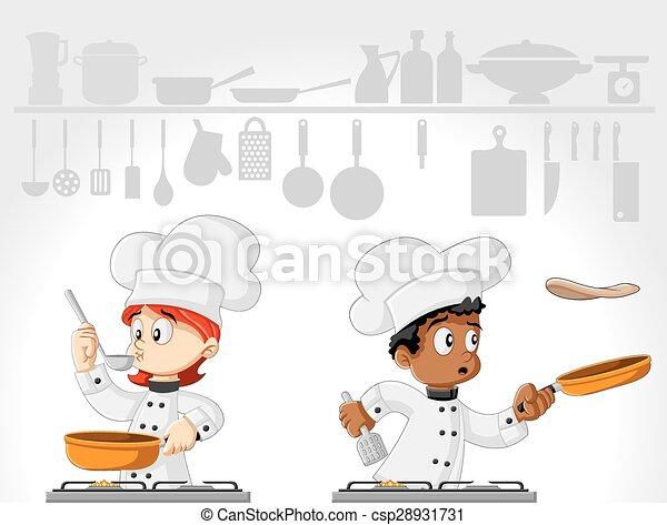 Cartoon chefs cooking  - csp28931731