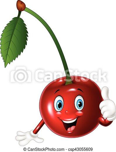 Cartoon cherry giving thumbs up - csp43055609