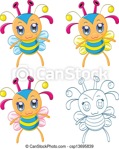Cartoon chibi fantasy creatures - csp13695839