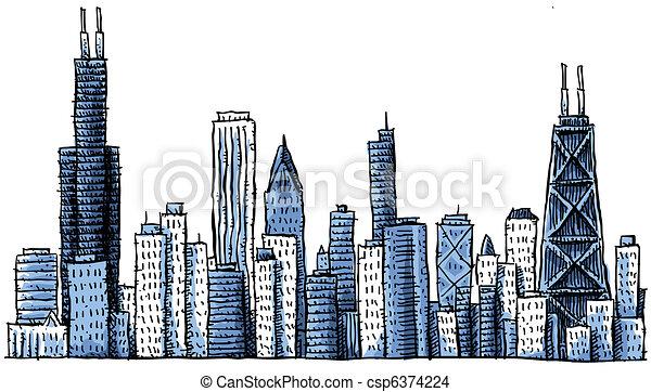 Cartoon Chicago Skyline - csp6374224