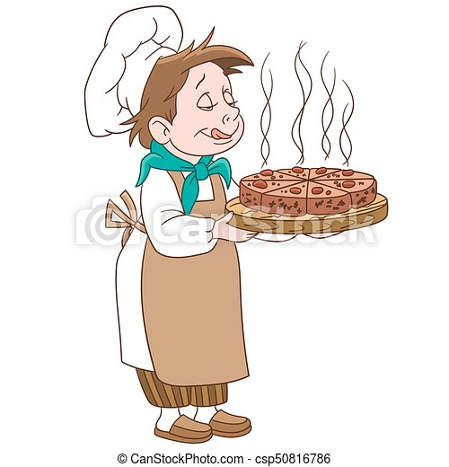 Cartoon chief cook with a pizza or cake - csp50816786