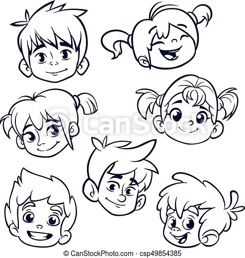 cartoon child face icons vector set of childrens or teenagers heads