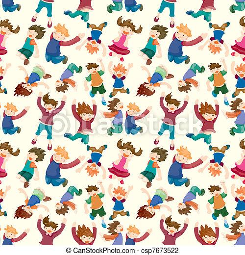 cartoon child jump seamless pattern - csp7673522