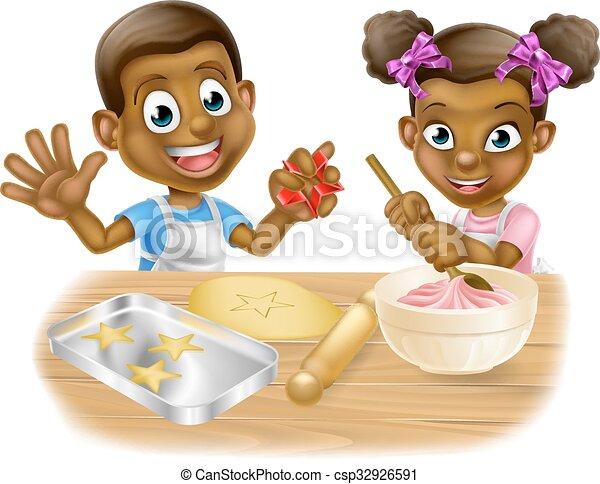 Cartoon Children Chefs Cooking