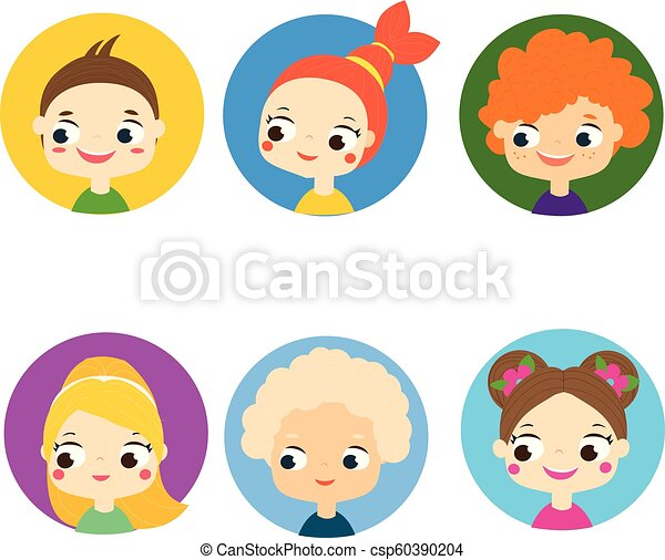 Cartoon children faces  Colorful kids avatars  Cute boys and girls labels,  icons