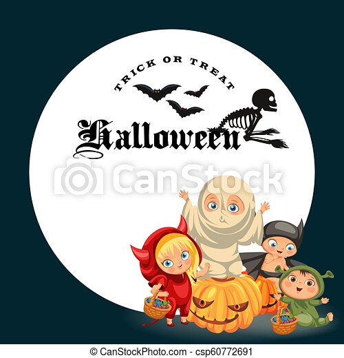 Halloween Costumes 07726.Cartoon Children In Mystery Costumes Flat Poster Cheerful Little Kids Dressed In Halloween Suits Of Devil Ghost Rat And