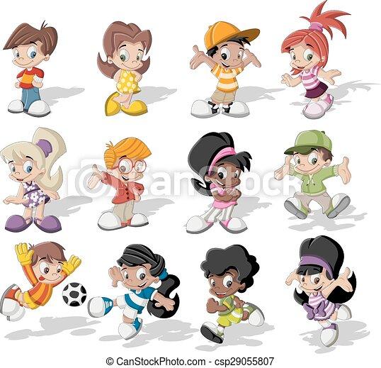 vector cartoon children playing