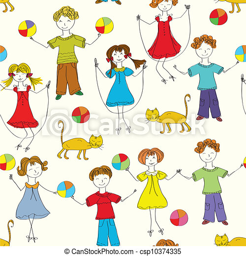 Cartoon children seamless pattern in bright colors - csp10374335