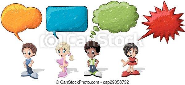 Cartoon children talking  - csp29058732