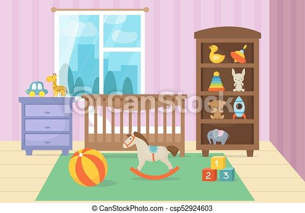 Cartoon childrens room interior with kid toys vector illustration ...