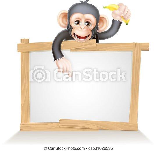Cartoon Chimp Monnkey Sign - csp31626535