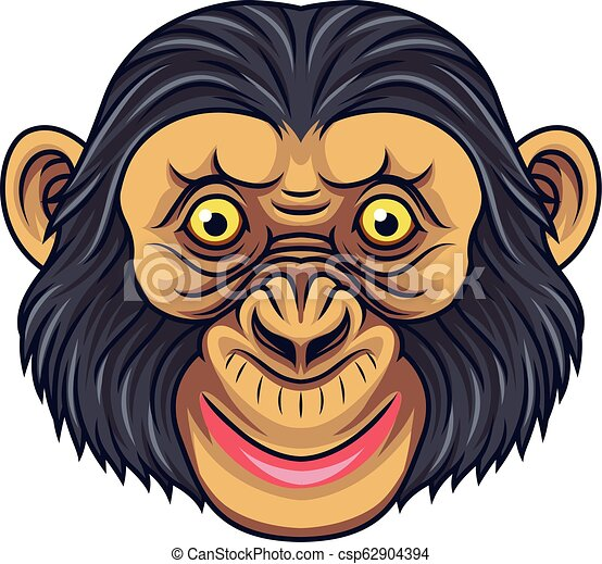 Cartoon Chimpanzee Head Mascot - csp62904394