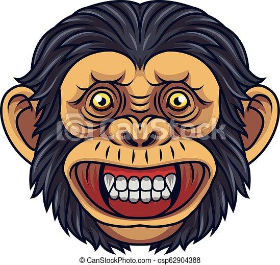 Cartoon Chimpanzee Head Mascot - csp62904388