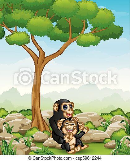 Cartoon chimpanzee mother hug her baby chimp in the jungle