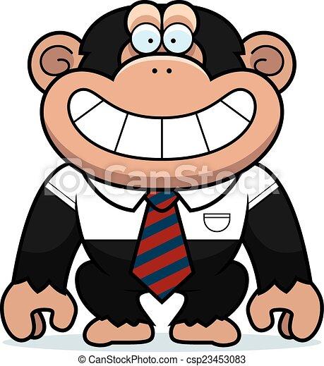cartoon chimpanzee tie a cartoon illustration of a vector rh canstockphoto com