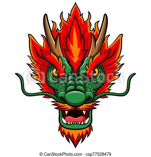 Cartoon chinese dragon head mascot - csp77528479