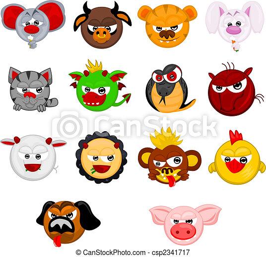 Cartoon Chinese Horoscope Symbols Of Years Rat Cow Tiger Rabbit