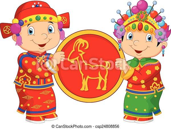 Cartoon Chinese kids holding goat s - csp24808856