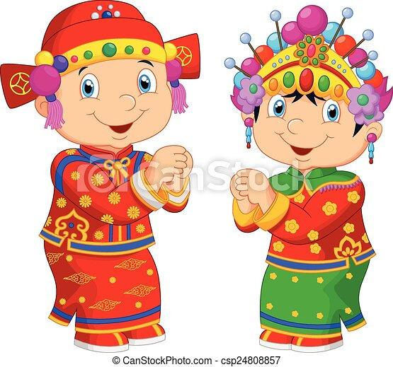 Cartoon Chinese kids wearing Chines - csp24808857