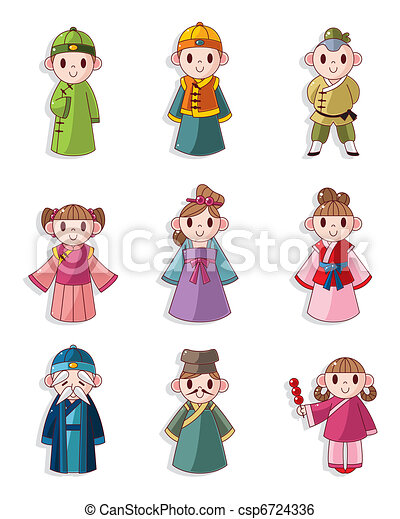 cartoon Chinese people icon set - csp6724336