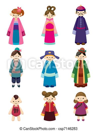 cartoon Chinese people icon set  - csp7146283