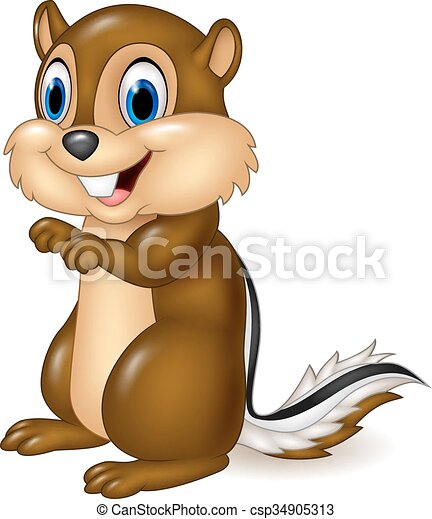 Cartoon chipmunk sitting - csp34905313