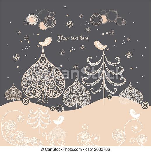 Cartoon Christmas background - csp12032786