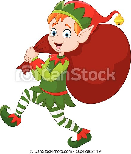 vector illustration of cartoon christmas elf carrying a bag rh canstockphoto com free christmas elf clipart images christmas elf hat clipart