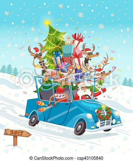 Christmas Gift Card Poster.Cartoon Christmas Gift Card