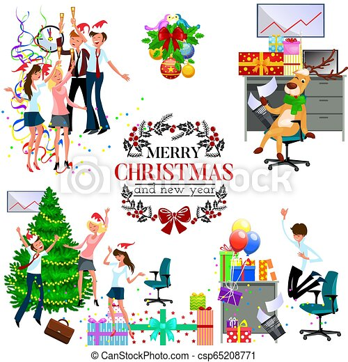 Christmas Party Pictures Clip Art.Cartoon Christmas Party At Work In Office