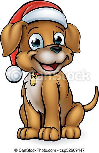 Cartoon Christmas Pet Dog A Pet Dog Cartoon Character Wearing A Christmas Santa Claus Hat Canstock