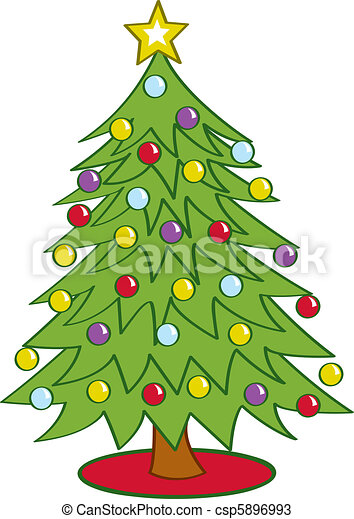 Cartoon Christmas Tree Cartoon Christmas Tree Decorated With Ornaments