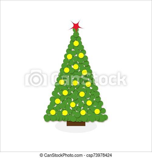 Cartoon Christmas Tree Modern Different Flat Design Vector Illustration Handwritten modern brush lettering, typography set. can stock photo